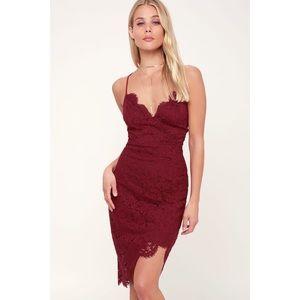 Lulu's Flirting with Desire Burgundy Lace Dress